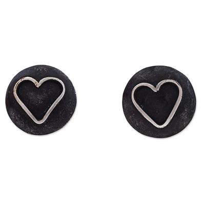 Sterling Silver Heart Shaped Button Earrings from Peru