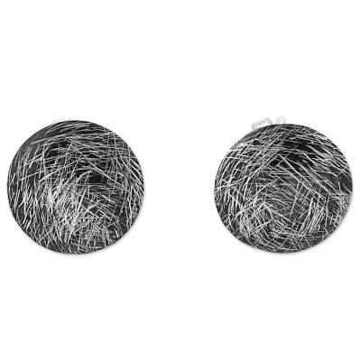 Hand Made 950 Silver Circular Button Earrings from Peru
