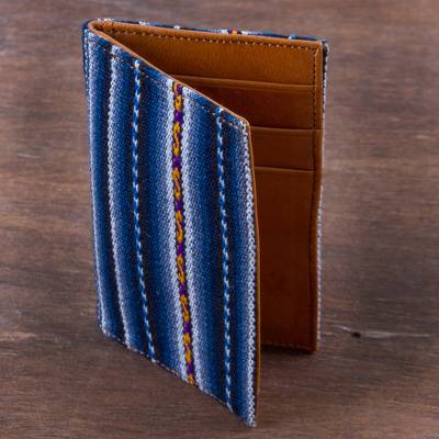 Leather accent wool blend card holder, 'Piura Palette' - Handmade Leather and Blue Wool Blend Business Card Holder