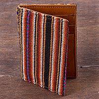 Leather and wool blend card holder, 'Cuzco Palette' - Multicolor Leather and Wool Blend Business Card Holder