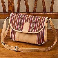 Leather accented wool blend shoulder bag, 'Cuzco Palette' - Hand Woven Wool Blend and Leather Accent Flap Shoulder Bag