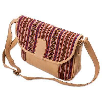 Novica Wool and leather accent hobo bag, Cuzco Legacy