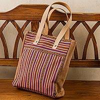 Leather accented wool blend tote bag, 'Cuzco Palette' - Hand Woven Wool Blend and Leather Accent Tote Bag from Peru