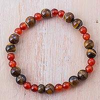 Tiger's eye and carnelian beaded bracelet, 'Fiery Eyes'