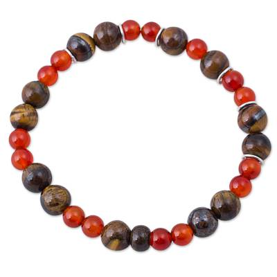 Tiger's eye and carnelian beaded bracelet, 'Fiery Eyes' - Tiger's Eye and Carnelian Beaded Bracelet from Peru