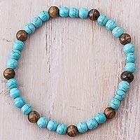 Tiger's eye beaded bracelet, 'Rocky Waves' - Tiger's Eye and Recon Turquoise Beaded Bracelet from Peru