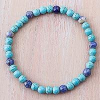 Sodalite beaded bracelet, 'Clear Ocean' - Blue Sodalite and Recon Turquoise Beaded Bracelet from Peru