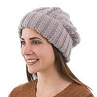 Alpaca blend hat, 'Interlaced Beauty' - Alpaca Blend Knit Hat in Dove Grey from Peru