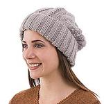 Alpaca Blend Knit Hat in Dove Grey from Peru, 'Interlaced Beauty'