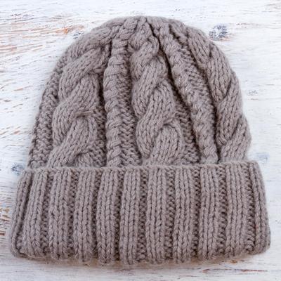 Alpaca blend hat, 'Interlaced Beauty' - Alpaca Blend Knit Hat in Dove Grey from Peru