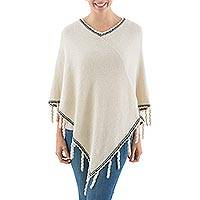 Alpaca blend poncho, 'Pale Beige Stoicism' - Alpaca Blend Poncho in Pale Beige and Black from Peru