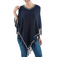Alpaca blend poncho, 'Midnight Stoicism' - Woven Alpaca Blend Poncho Midnight Blue from Peru