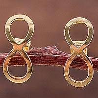 Gold plated button earrings, 'Infinite Elegance' - 18k Gold Plated Button Earrings with Infinity Symbol