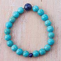 Lapis lazuli beaded stretch bracelet, 'Blue Crest' - Lapis Lazuli Recon Turquoise Beaded Bracelet from Peru