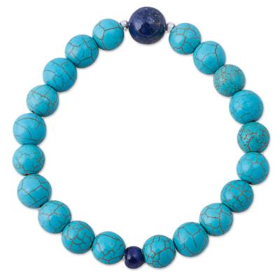 Lapis Lazuli Recon Turquoise Beaded Bracelet from Peru