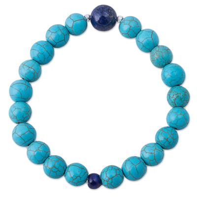 Lapis lazuli beaded stretch bracelet, 'Blue Crest' - Lapis Lazuli Recon Turquoise Beaded Bracelet from Peru