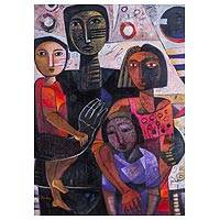'Family Union' (2015) - Colorful Cubist Family Portrait in Oils on Canvas