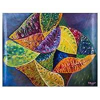 'Pyramid of Leaves' (2014) - Peruvian Expressionist Oil Painting of Croton Leaves