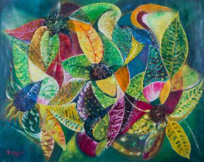 'Color, Strength and Beauty' (2015) - Peruvian Multicolor Leaf Theme Abstract Painting