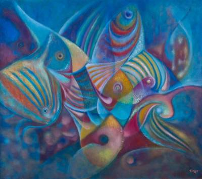 'Rainbow Fish' (2015) - Original Blue Fish Painting in Oils on Canvas from Peru