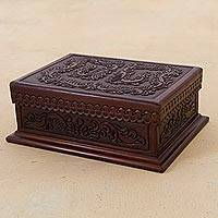 Leather and wood decorative box, 'Classic Inspiration' - Embossed Leather Leaves on Mohena Wood Decorative Box Chest