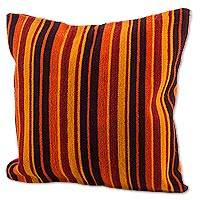 Wool cushion cover, 'Colorful Dream' - Hand Woven Wool Cushion Cover in Orange from Peru