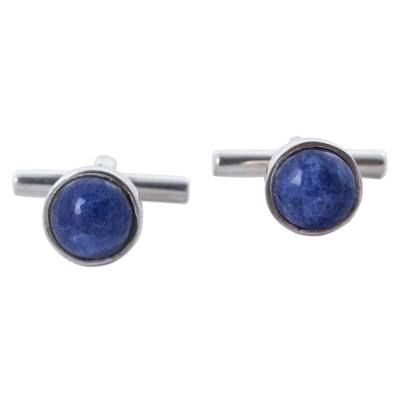 Sodalite cufflinks, 'Glistening Blue' - Men's Sterling Silver Sodalite Cufflinks from Peru