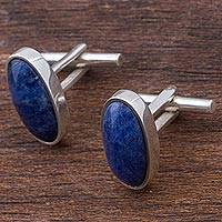 Sodalite cufflinks, 'Oval of Blue'