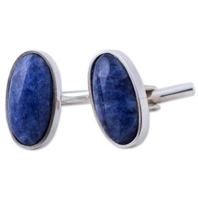 Sodalite cufflinks, 'Oval of Blue' - Sterling Silver and Sodalite Oval Cufflinks from Peru