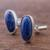 Sodalite cufflinks, 'Oval of Blue' - Sterling Silver and Sodalite Oval Cufflinks from Peru (image 2c) thumbail