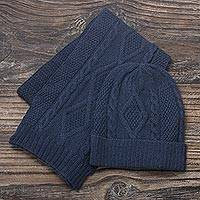 100% alpaca hat, 'Antique Allure' - Knitted Unisex Watch Cap in Azure 100% Alpaca from Peru
