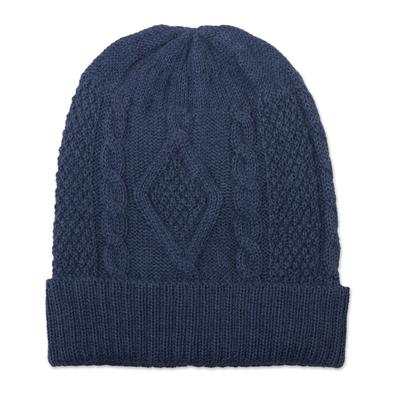 100% alpaca hat, 'Azure Braid' - Knitted Unisex Watch Cap in Azure 100% Alpaca from Peru