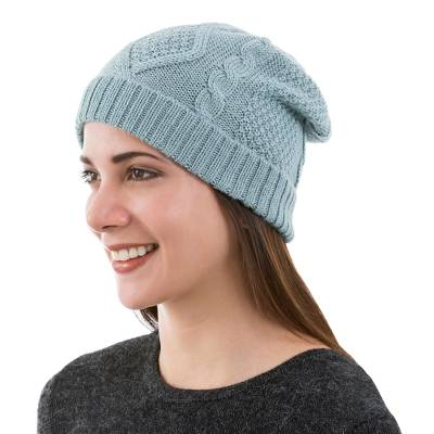 100% alpaca hat, 'Celadon Braid' - Knitted Unisex Watch Cap in Celadon 100% Alpaca from Peru