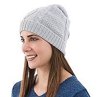 100% alpaca hat, 'Dove Grey Braid' - Knitted Unisex Watch Cap Dove Grey 100% Alpaca from Peru