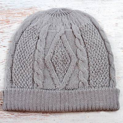 ffc69faf28c Knitted Unisex Watch Cap Dove Grey 100% Alpaca from Peru - Dove Grey ...
