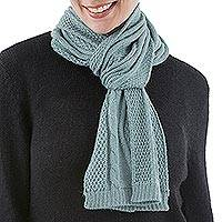 100% alpaca scarf, 'Celadon Braid' - Knitted Unisex Scarf in Celadon 100% Alpaca from Peru