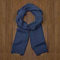 100% alpaca scarf, 'Azure Braid' - Knitted Unisex Scarf in Azure 100% Alpaca from Peru