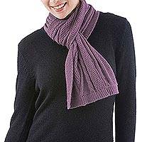 100% alpaca scarf, 'Dusty Lilac Braid' - Dusty Lilac 100% Alpaca Scarf Diamond Motif from Peru