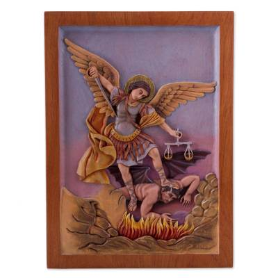Elegant Cedar Relief Panel, U0027Saint Michaelu0027   St Michael Archangel Religious Wall  Art Cedar