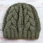 Hand Knit Olive Green 100% Alpaca Hat from Peru, 'Olive Braids'