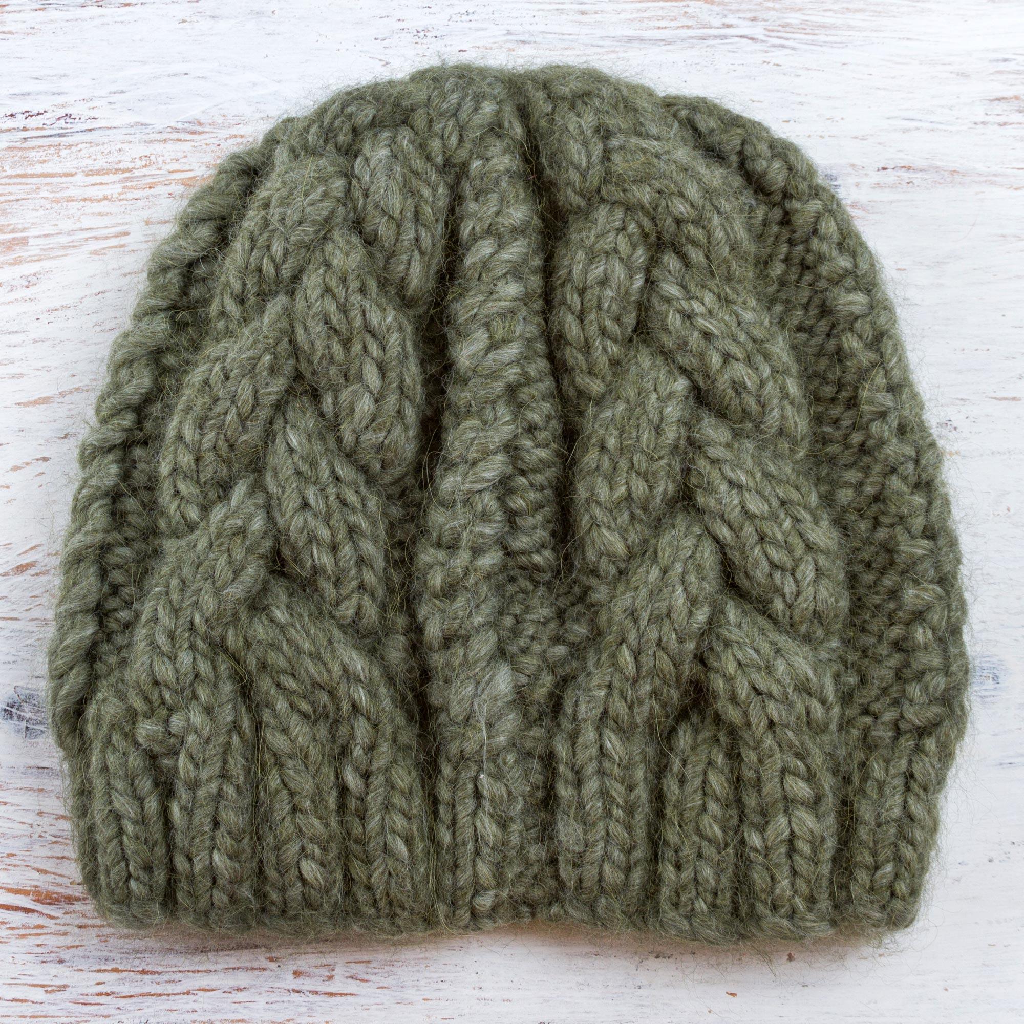 f7008102b Hand Knit Olive Green 100% Alpaca Hat from Peru, 'Olive Braids'