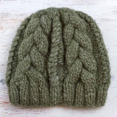 100% alpaca hat, 'Olive Braids' - Hand Knit Olive Green 100% Alpaca Hat from Peru