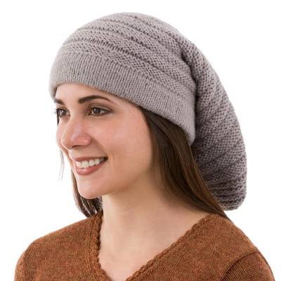 Alpaca blend hat, 'Dove Grey Charm' - Hand Knit Dove Grey Alpaca Blend Unisex Hat from Peru