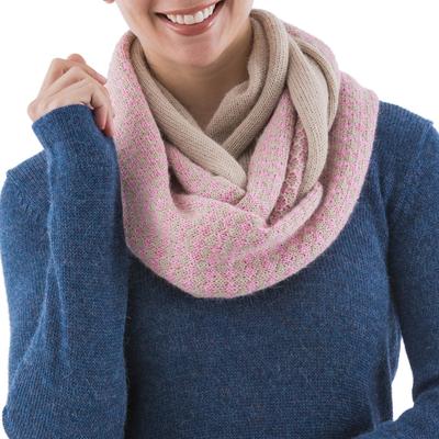 Alpaca blend infinity scarf, 'Rosy Wrap' - Pastel Pink Pale Beige Alpaca Blend Infinity Scarf from Peru
