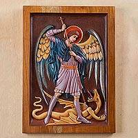 Cedar relief panel, 'Saint Michael Archangel'