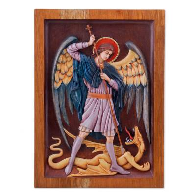 Cedar relief panel, 'Saint Michael Archangel' - St Michael and Dragon Religious Wall Art Cedar Wood Panel