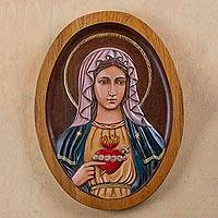 Cedar relief panel, 'Mary's Heart'