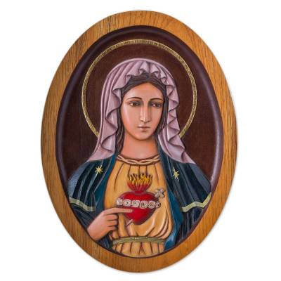 Cedar relief panel, 'Mary's Heart' - Virgin Mary's Heart Christian Wall Art Cedar Wood Panel