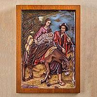 Cedar relief panel, 'Escape to Egypt'