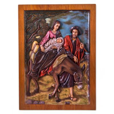 Cedar relief panel, 'Escape to Egypt' - Christian Wall Art Cedar Panel of Holy Family Flees to Egypt